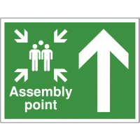 Construction Site Assembly Point Sign with Up Arrow