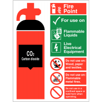 Durable CO2 Fire Extinguisher Fire Point Site Sign