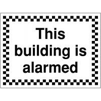 Temporary 'this building is alarmed' construction sign