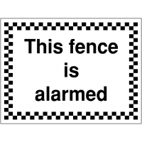 Temporary 'this fence is alarmed' construction sign
