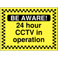 24-hour CCTV in operation safety/construction sign