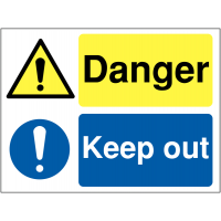 'Danger' and 'Keep Out' Dual-Message Construction Site Safety Sign