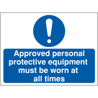 Self-adhesive construction sign informing approved PPE must be worn