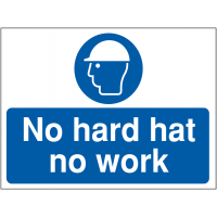 Durable 'No Hard Hat, No Work' Site Safety Sign