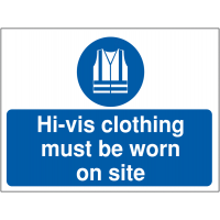 Durable 'Hi-Vis Clothing Must Be Worn' Construction Site Sign