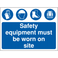 Self-adhesive 'Safety equipment must be worn on site' sign