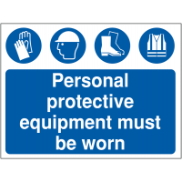 PPE Must Be Worn' Text and Symbol Safety Signs