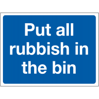 Instructive sign denoting rubbish to be binned
