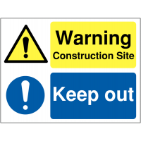 Dual-Message Site Signs: Warning Construction Site/Keep Out