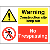 Self-adhesive multi-message construction site warning sign