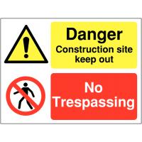 Multi-Message Construction Site 'No Trespassing' Sign