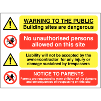 Self-Adhesive Building Site Danger Multi-Message Sign