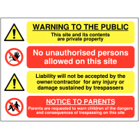 Multi-Message Private Property Site Warning Sign in Durable Materials
