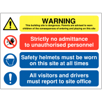 Dangerous Site Multi-Message Safety Warning Sign