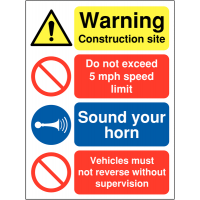 Multi-message building site safety sign