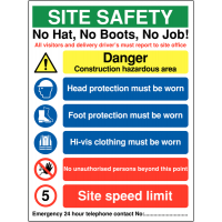 No hat, no boots, no job' multi-message site safety sign