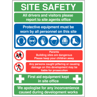 Multi-Message Site Safety Sign with Directions, PPE Messages and More