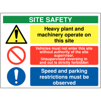 Heavy Plant and Machinery Multi-Message Site Safety Sign