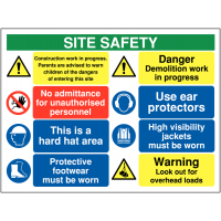 Multi-message site safety sign with overhead loads warning