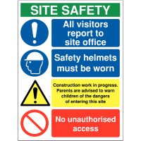 Building & construction site safety sign stating 'all visitors to report to site office'