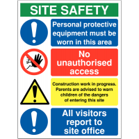 Multi Message Site Safety Signs - PPE Must Be Worn