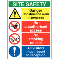 Multi-Message Basic Site Safety Sign with No Smoking Warning