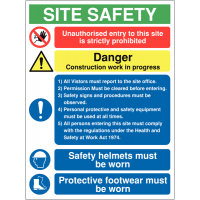 Multi-Message Construction Site Sign with Comprehensive Visitor Information