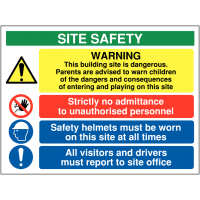 Multi-Message 'This Building Site is Dangerous' Warning Sign