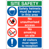 Building/construction multi-message warning sign including 'safety helmets must be worn'