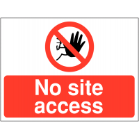 No site access sign for construction sites with graphic