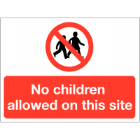 Durable 'No Children Allowed' Site Warning Sign
