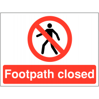 Durable 'Footpath Closed' Site Warning Sign