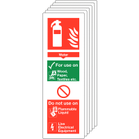 Six pack of water fire extinguisher locator signs