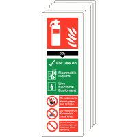 Six pack CO2 fire extinguisher locator signs