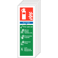 Six pack of dry powder fire extinguisher locator signs