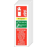 Pac of six rigid plastic/vinyl wet chemical fire extinguisher signs