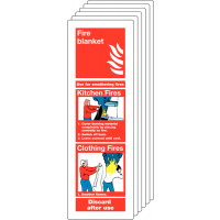 Six pack of fire blanket instruction signs