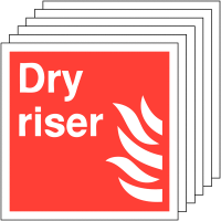 6-pack rigid plastic/vinyl dry riser fire signs
