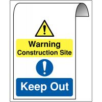 Aluminium Roll-top Sign - Warning Construction Site