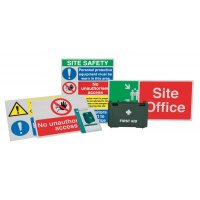 Basic construction safety sign kit and accessories