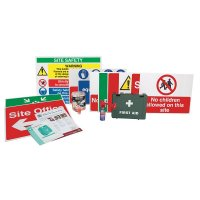 Complete construction safety sign kit and accessories