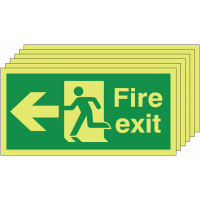 Pack of six Nite-Glo left man/arrow fire exit signs
