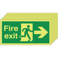 Glow In The Dark Fire Exit Signs (Right-Facing)