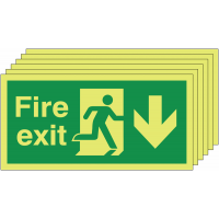 6 pack of glow-in-the-dark fire exit signs with man running right and down arrow