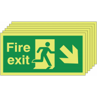 Pack of 6 photoluminescent down and right man/arrow fire exit signs