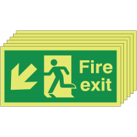 Glow-in-the-dark down and left man/arrow fire exit signs - pack of six