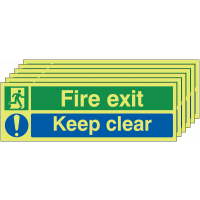 Luminous Nite-Glo fire exit keep clear signs, pack of six