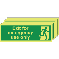 Six pack Nite-Glo signage stating exit for emergency use only