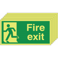 Pack of six man running left Nite-Glo fire exit signs