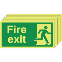 Six pack Nite-Glo fire exit signs with man running right